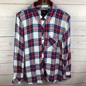 Rails   Blue Red Plaid Flannel Button Down Shirt